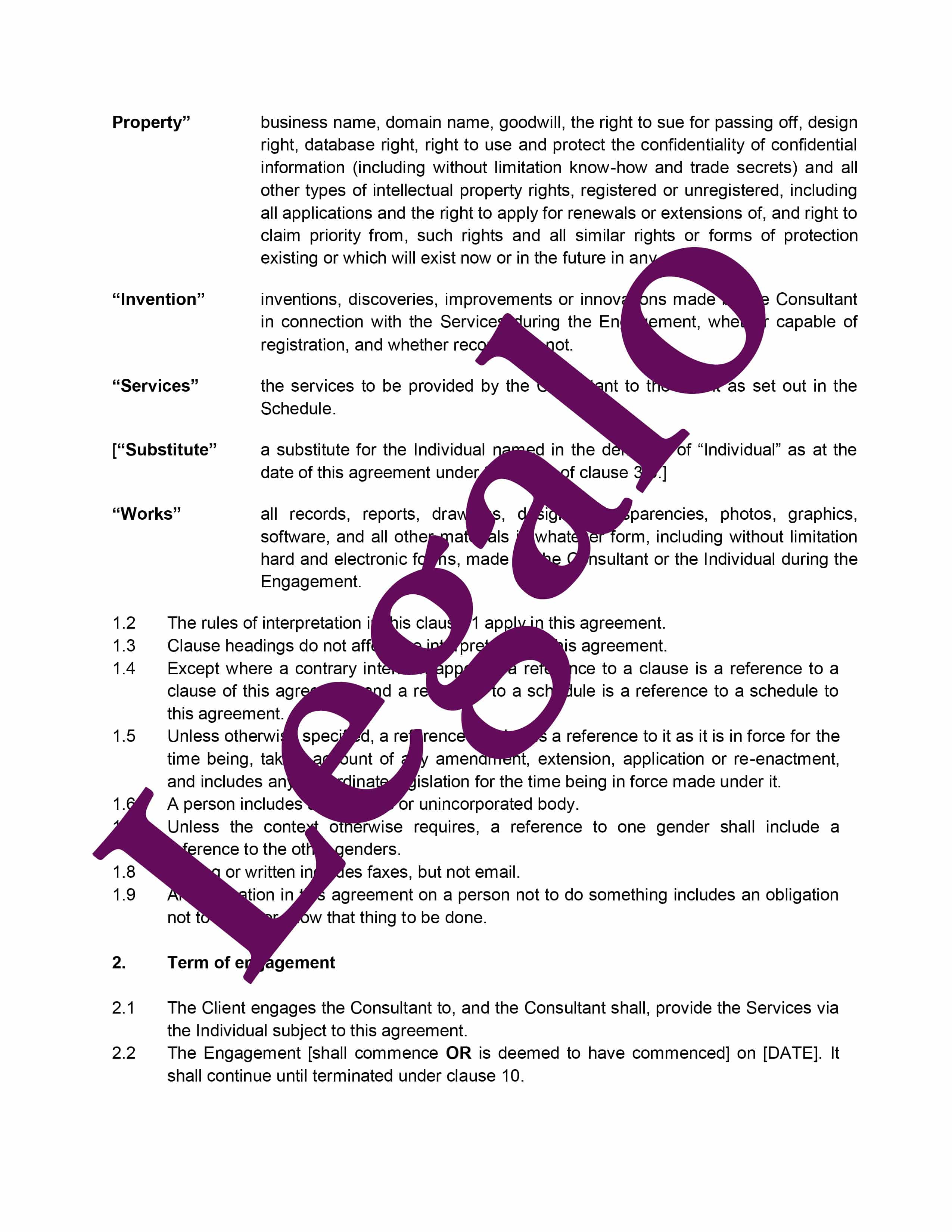 Consultancy Agreement (Company) Preview 2 image