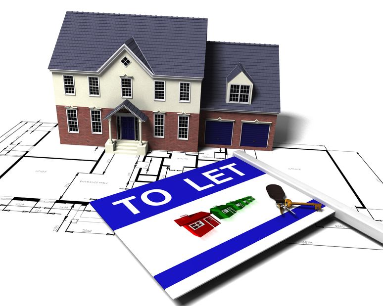 2373680 - 3d render of a house on blueprints with to let sign and bunch of keys
