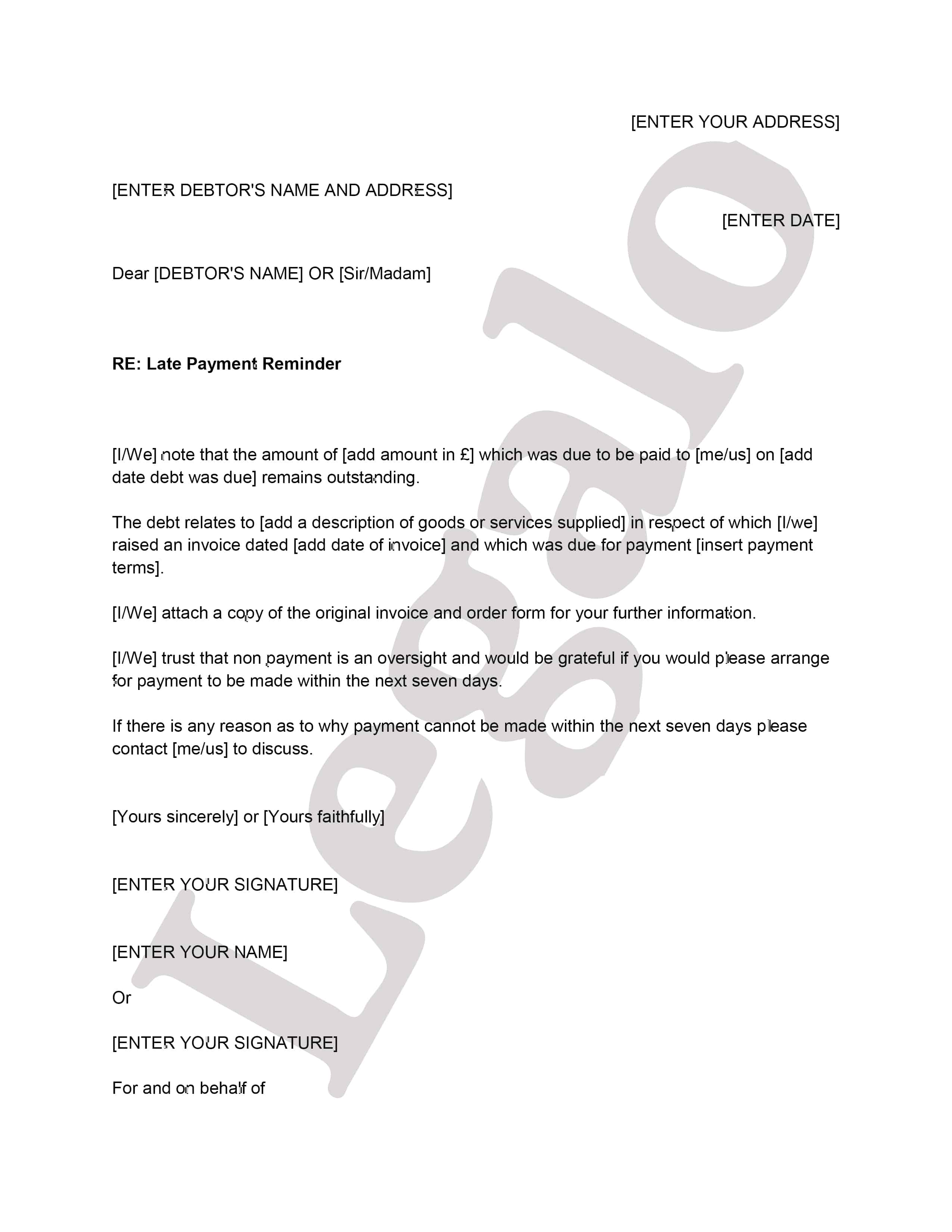 Example Of A Debt Recovery First Letter