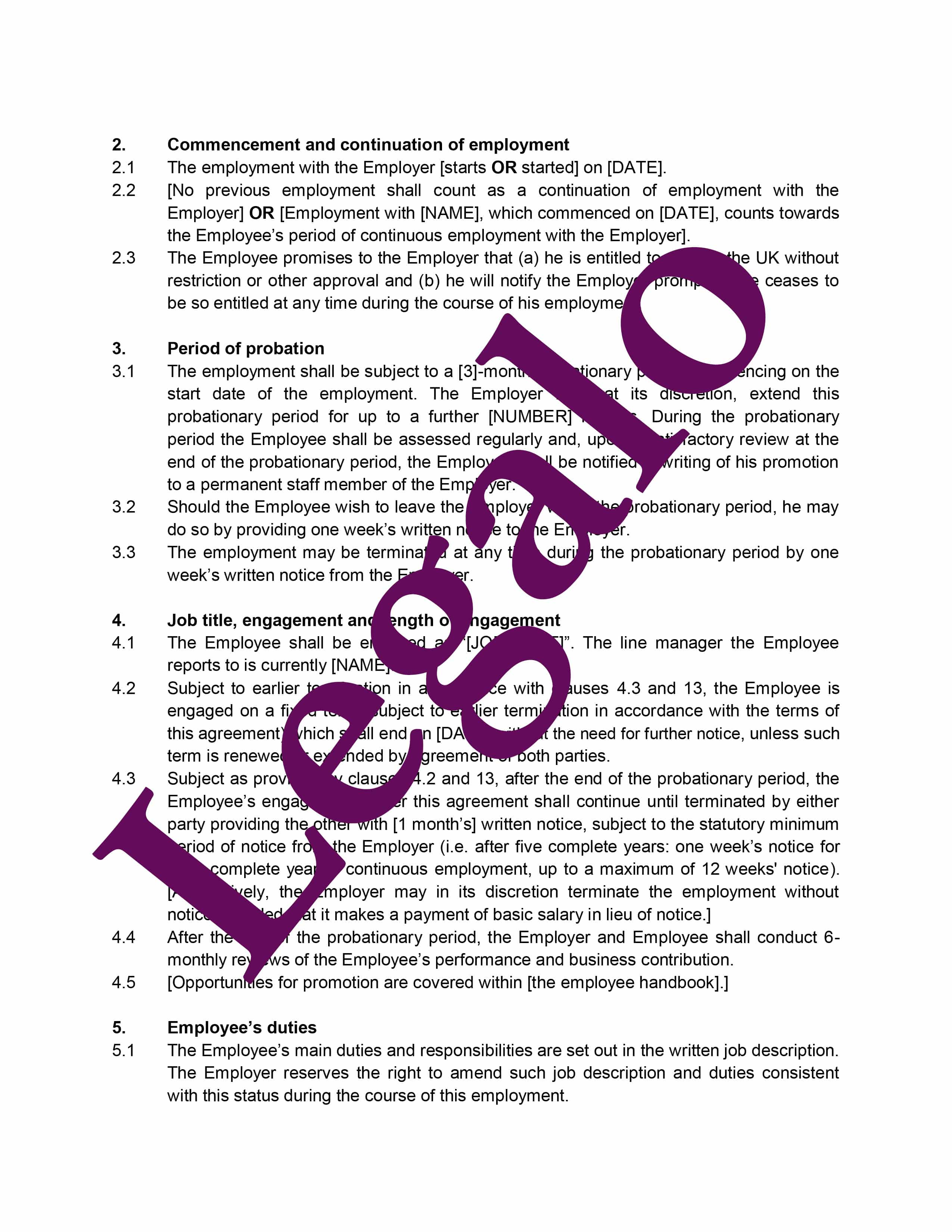 Fixed term employment contract preview image page 2