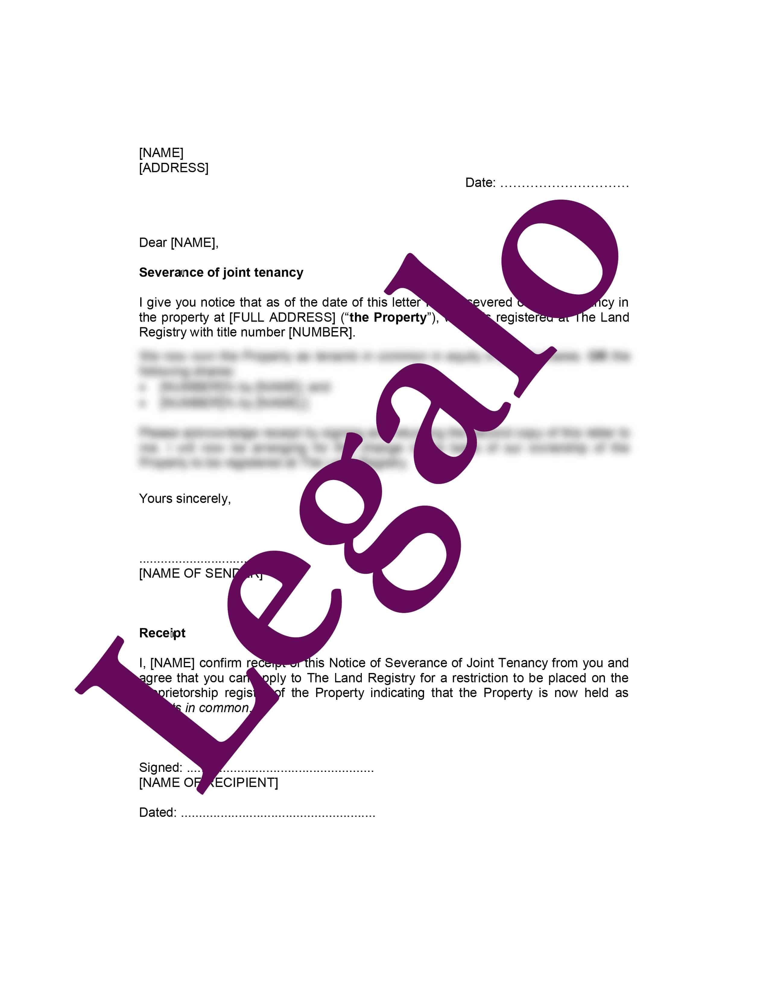 Notice Of Severance Of Joint Tenancy Legalo United Kingdom