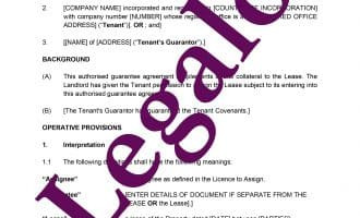 Authorised Guarantee Agreement preview 1 image