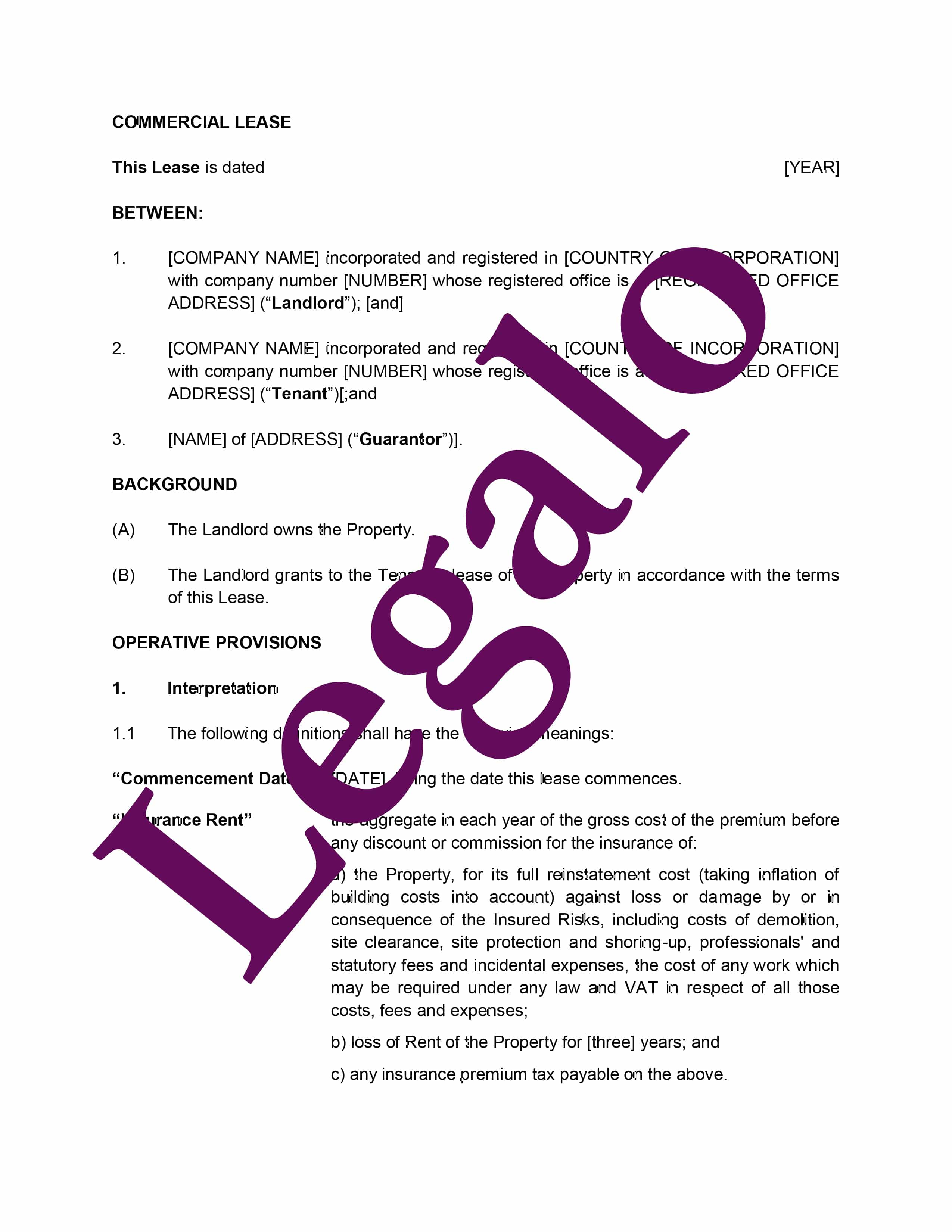 Commercial Lease Agreement preview 1 image