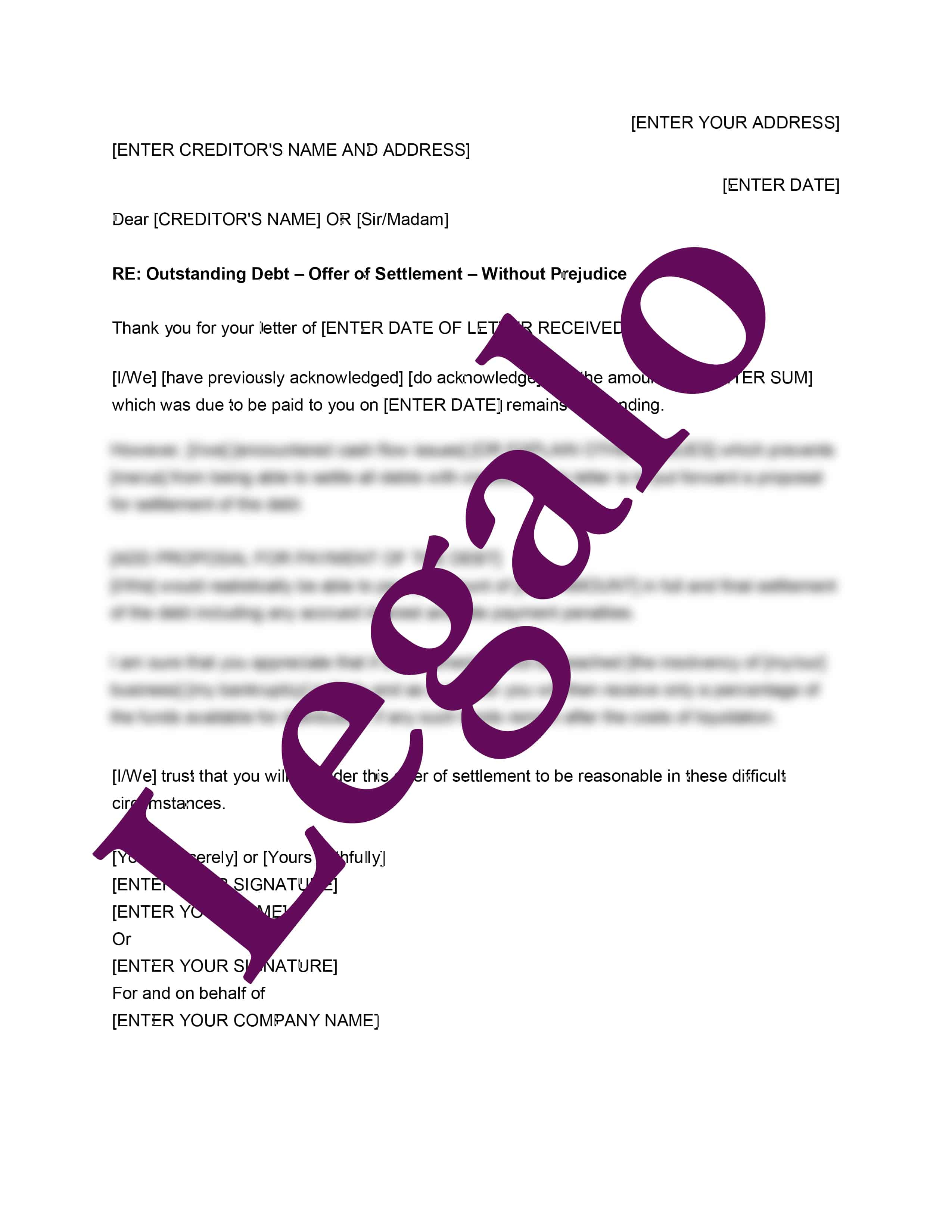 Debt Settlement Letter preview 1 image