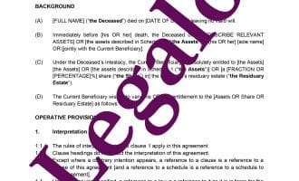 Deed of Variation for Intestacy preview 1 image