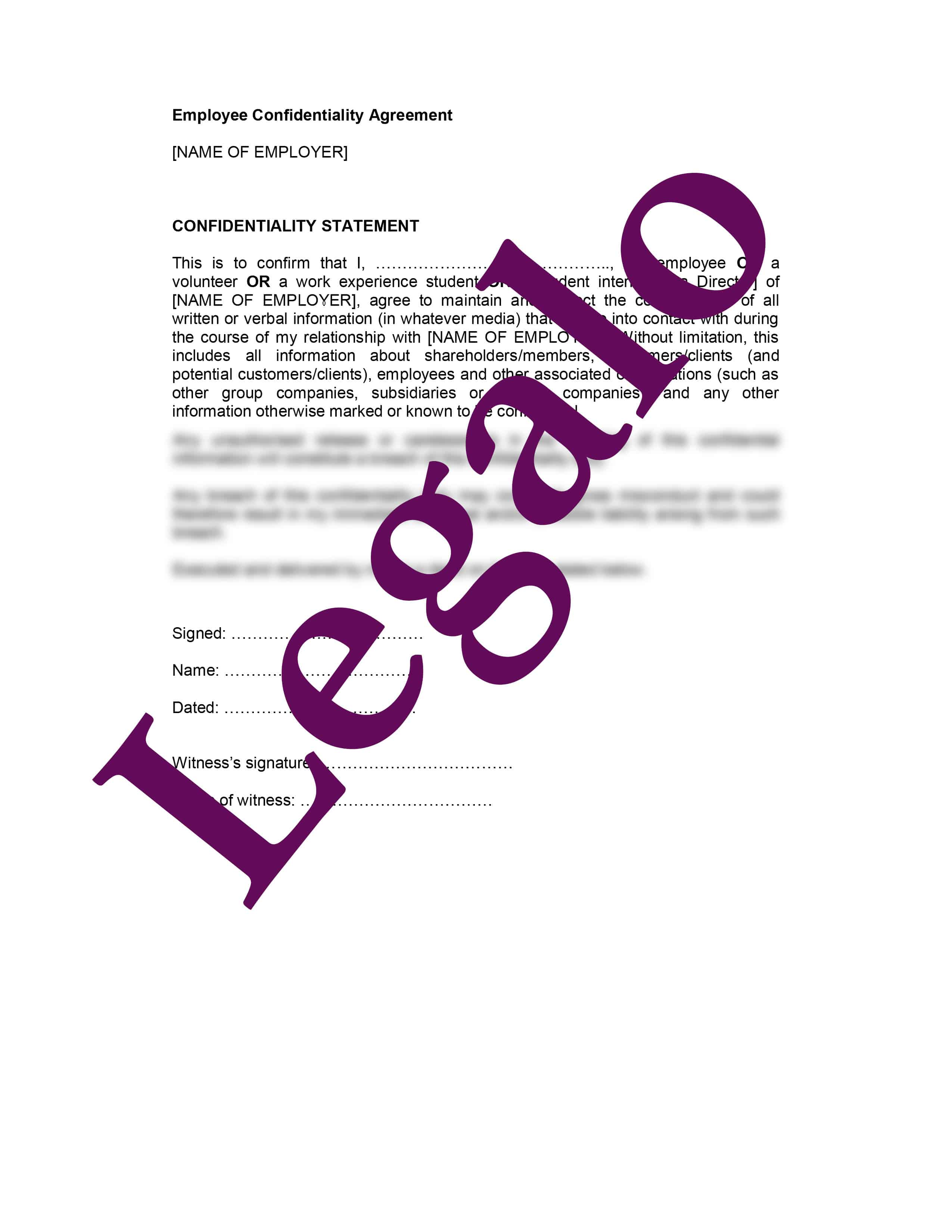 Employee Confidentiality Agreement preview 1 image