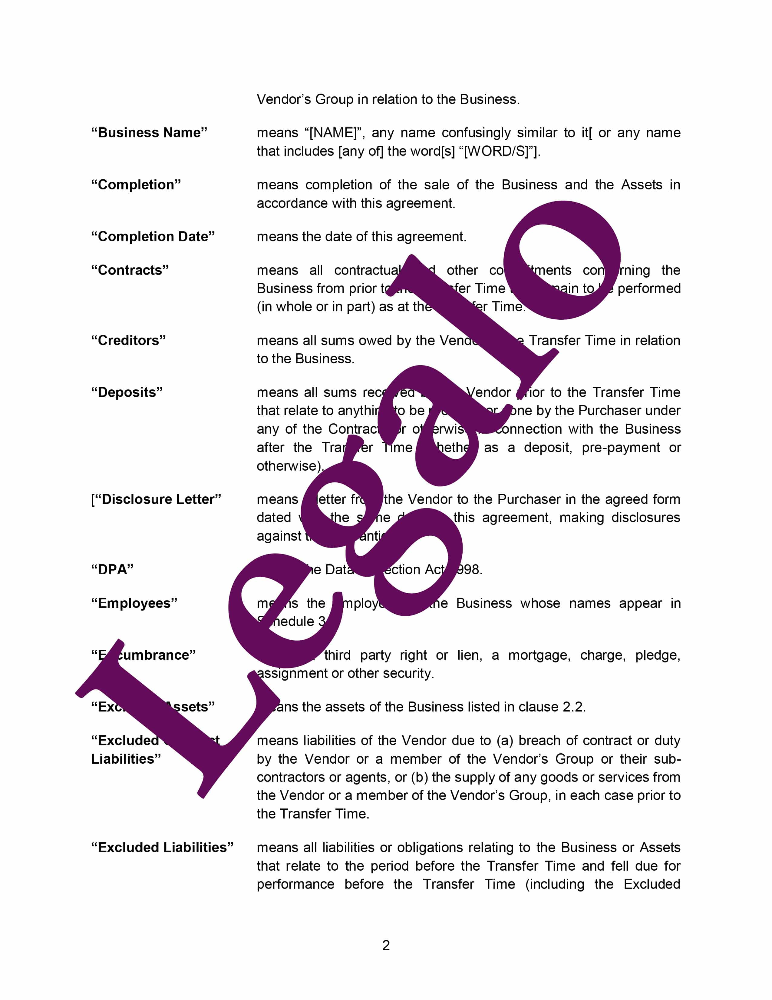 Business transfer agreement preview image page 2