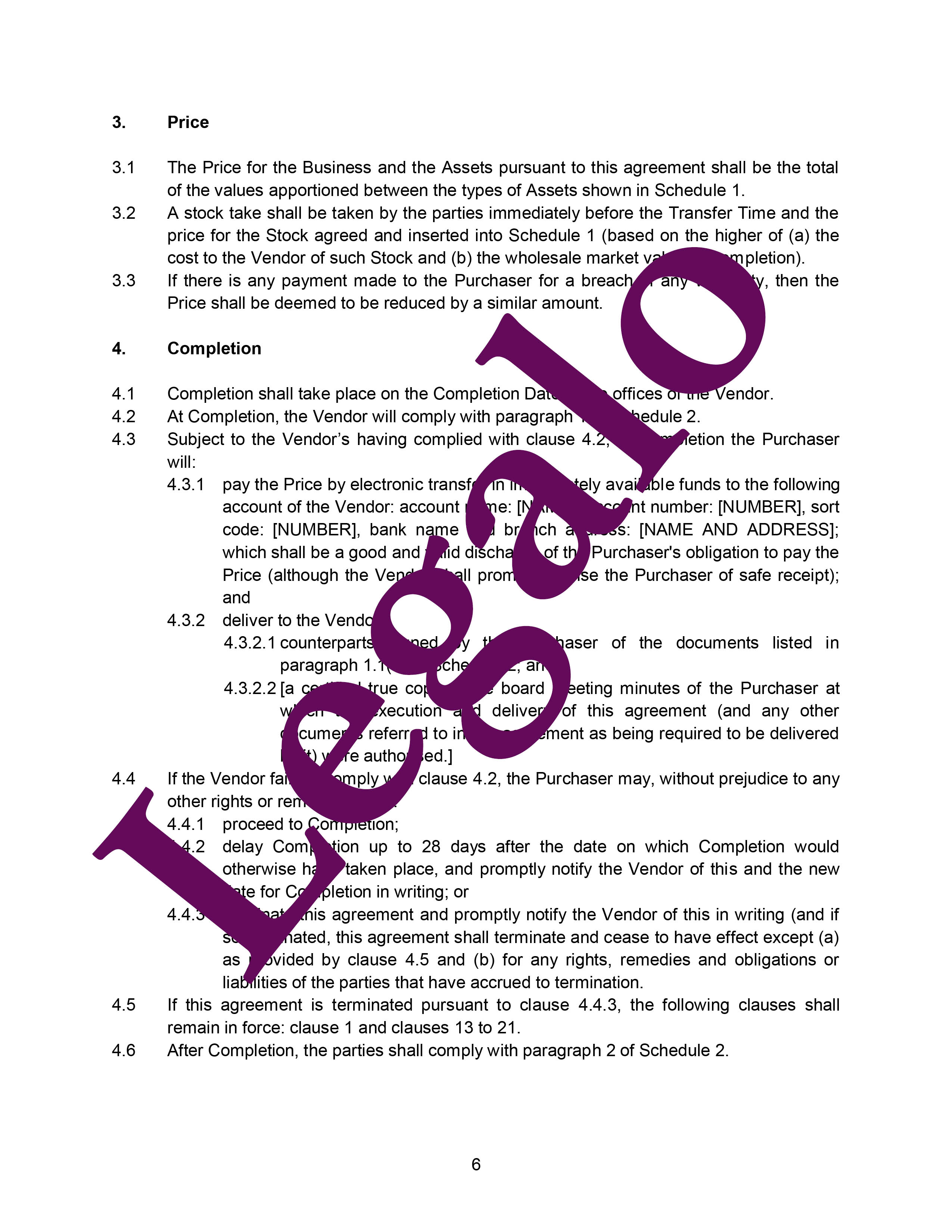 Business transfer agreement preview image page 6