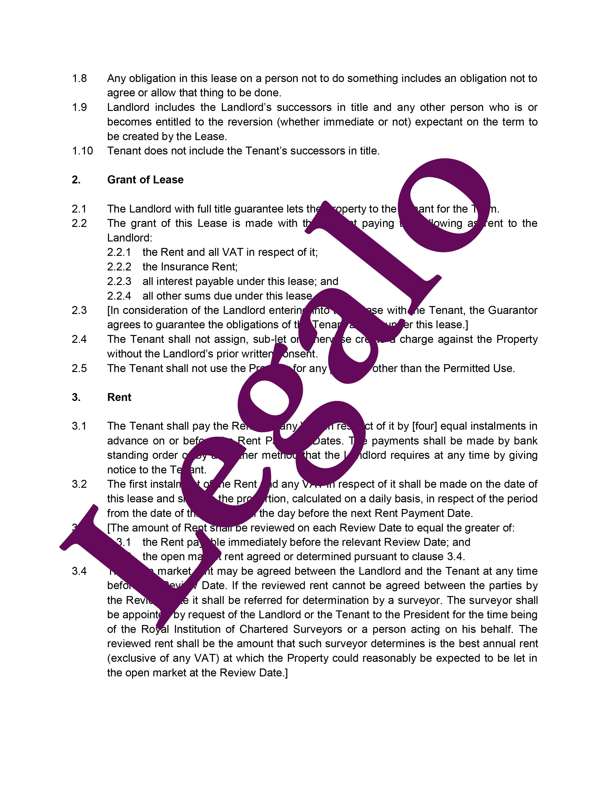 Commercial lease agreement preview image page 3