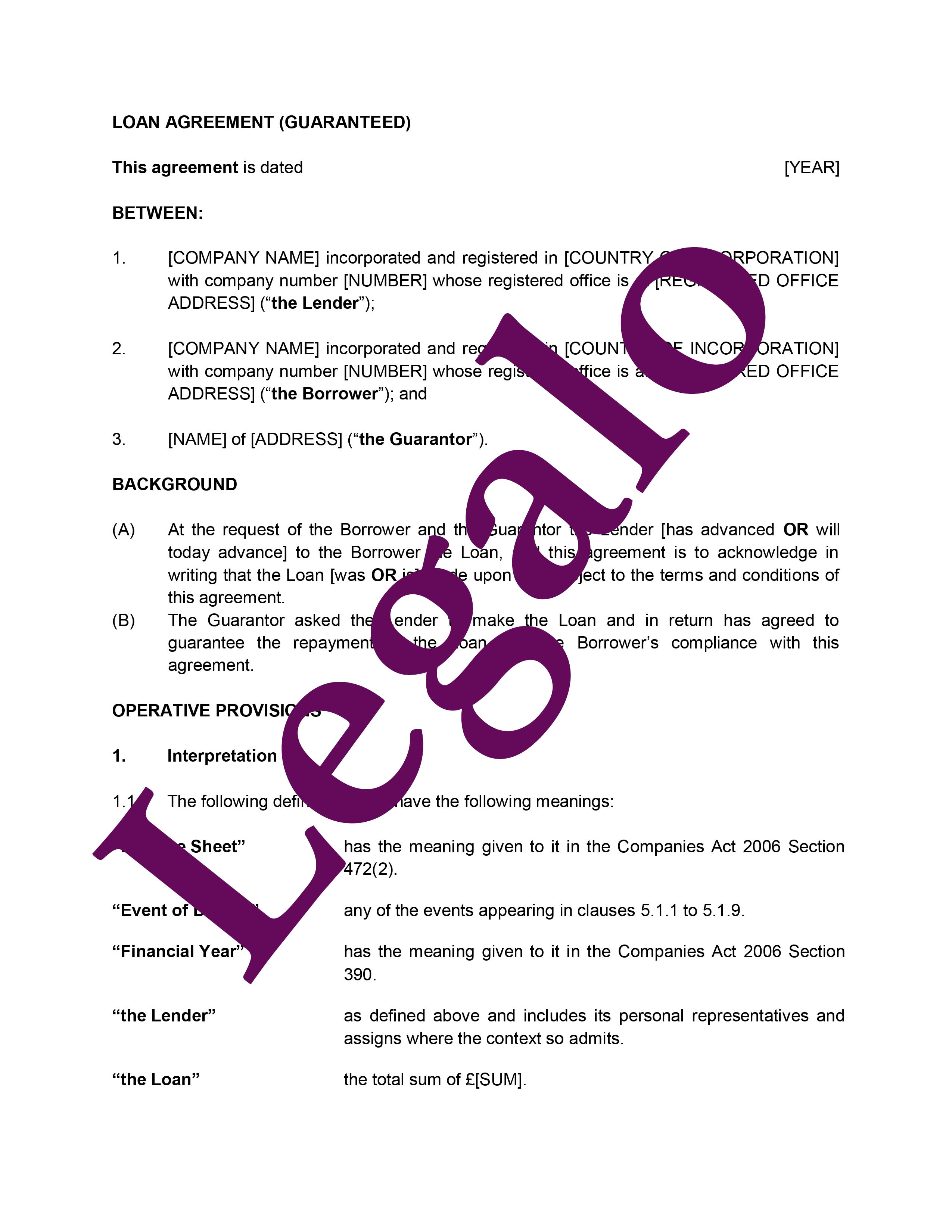 Guaranteed loan agreement preview image page 1