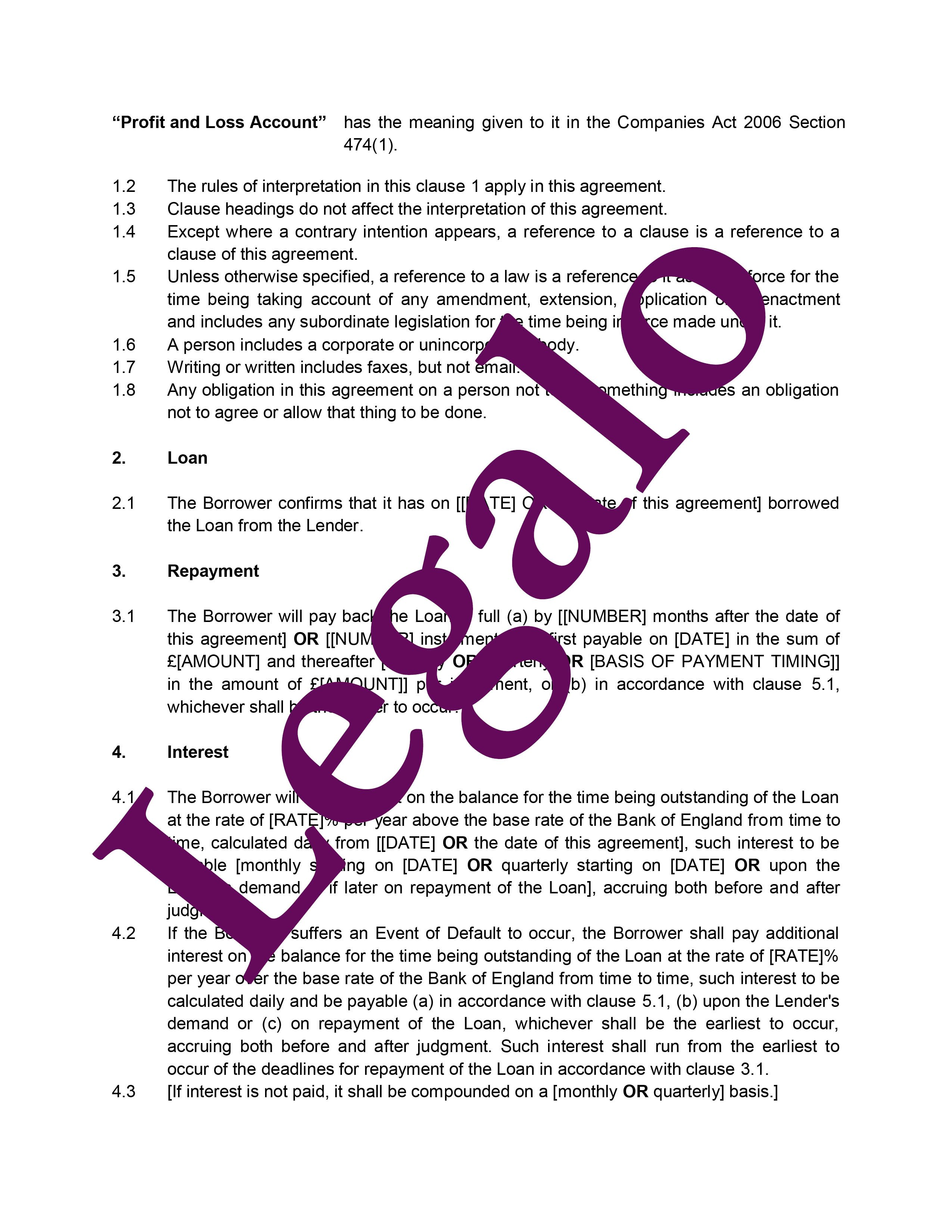 Guaranteed loan agreement preview image page 2