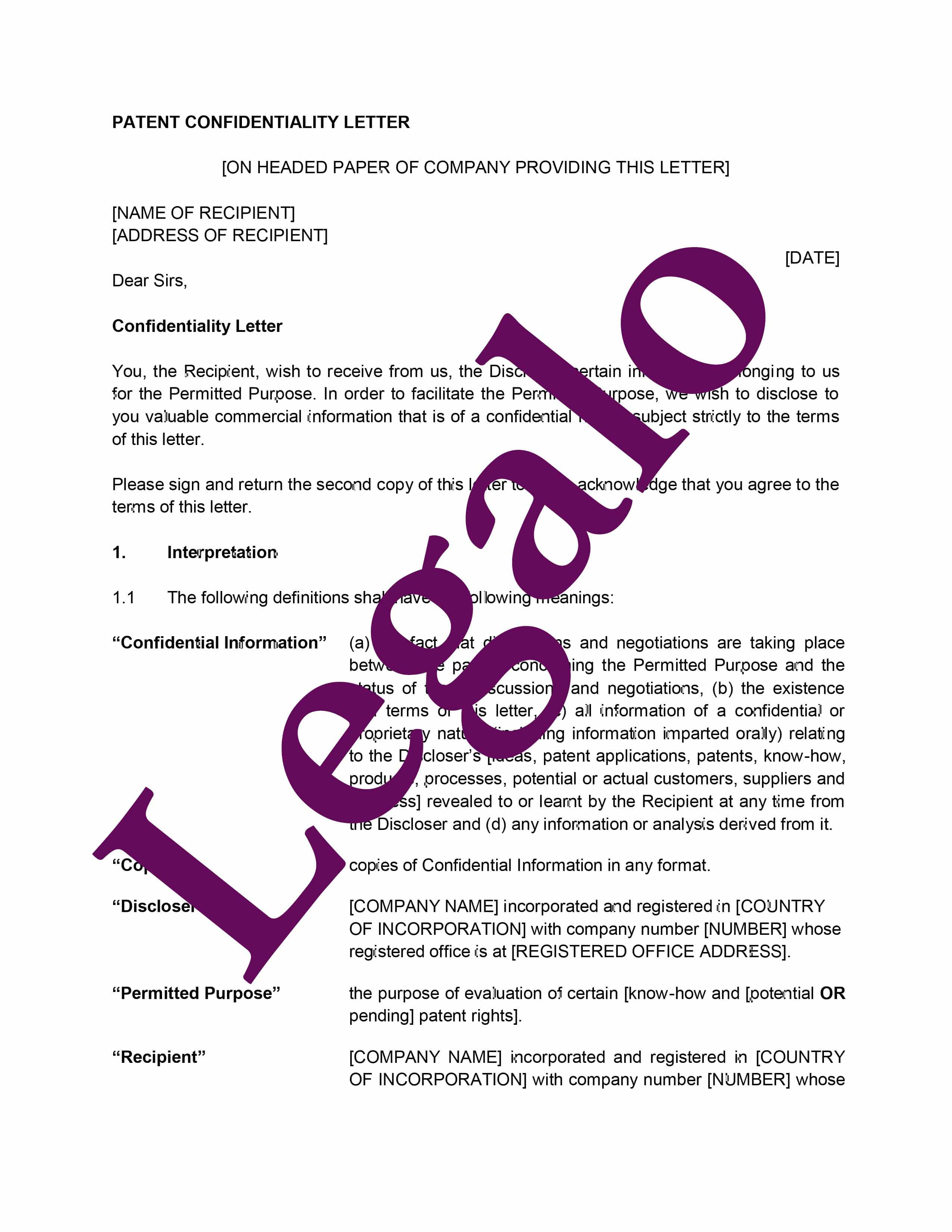 Confidentiality agreement 2 preview image page 1
