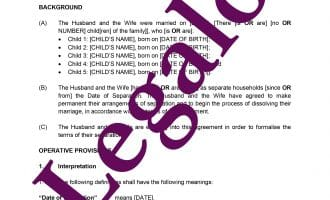 Separation agreement preview image page 1