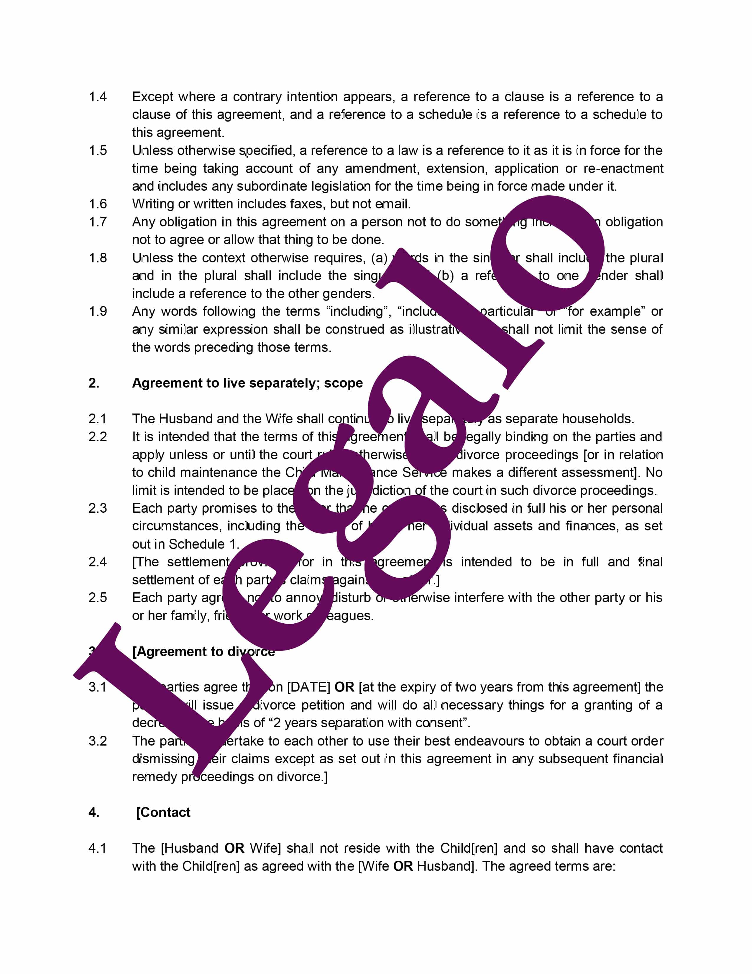 Separation agreement preview image page 2