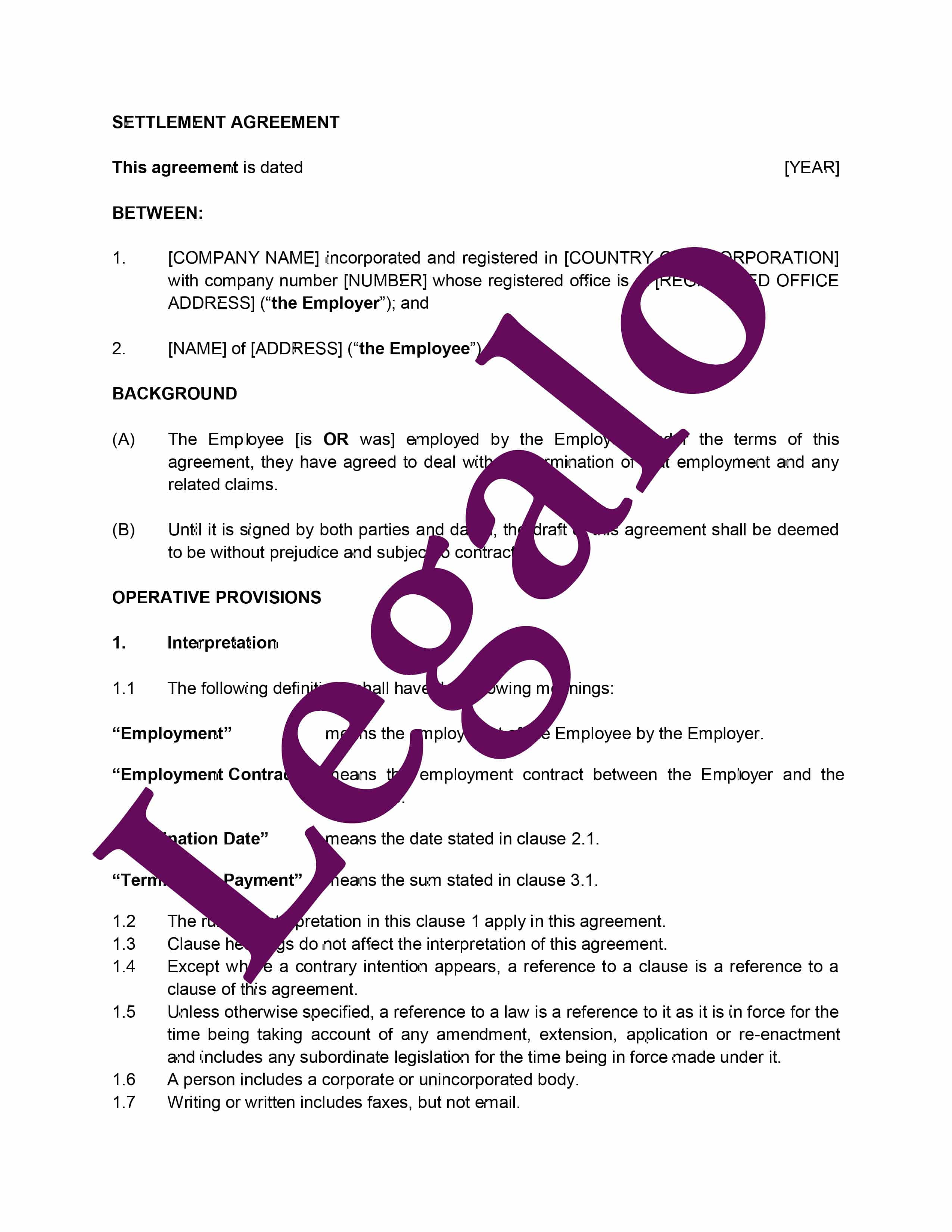 settlement agreement preview image page 1