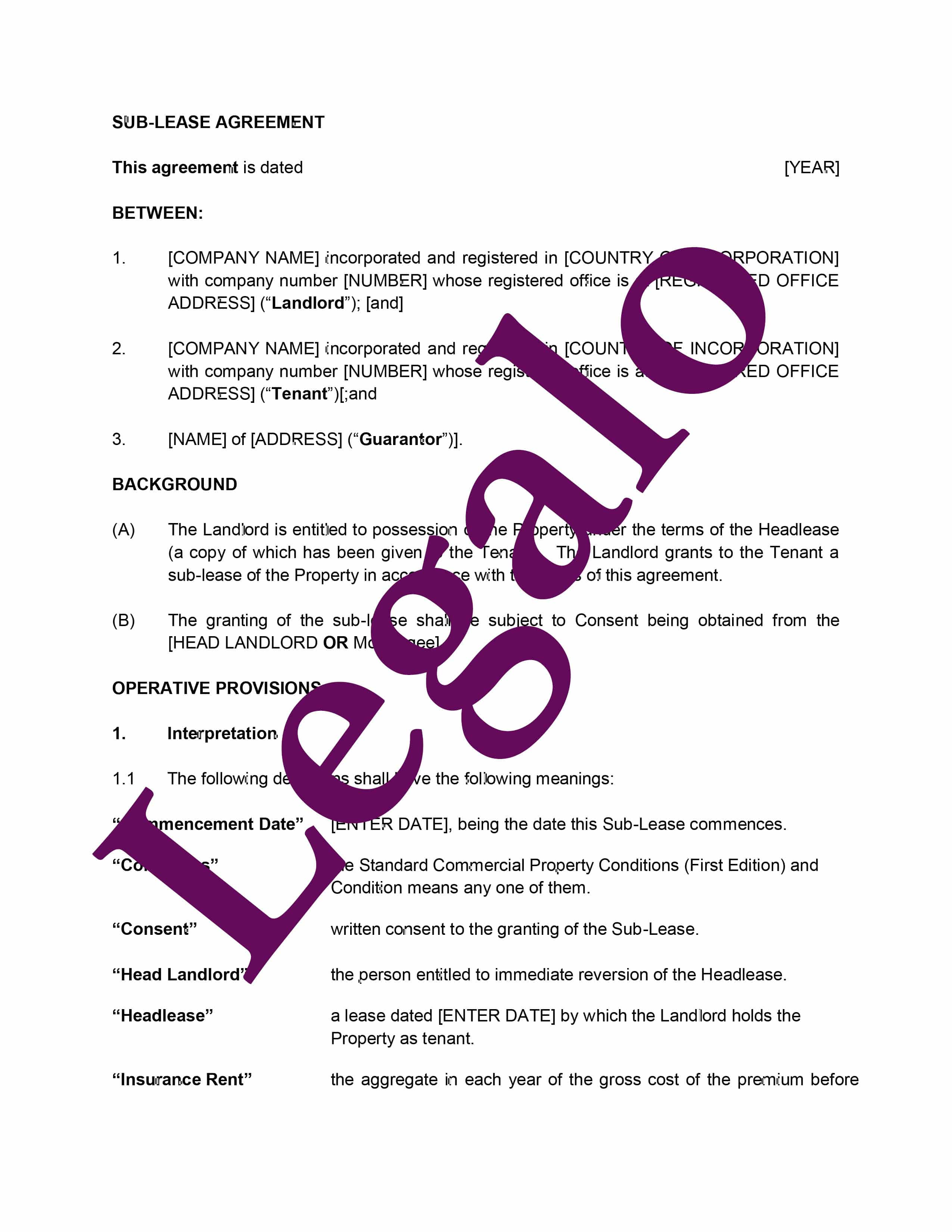 sub-lease agreement preview image page 1