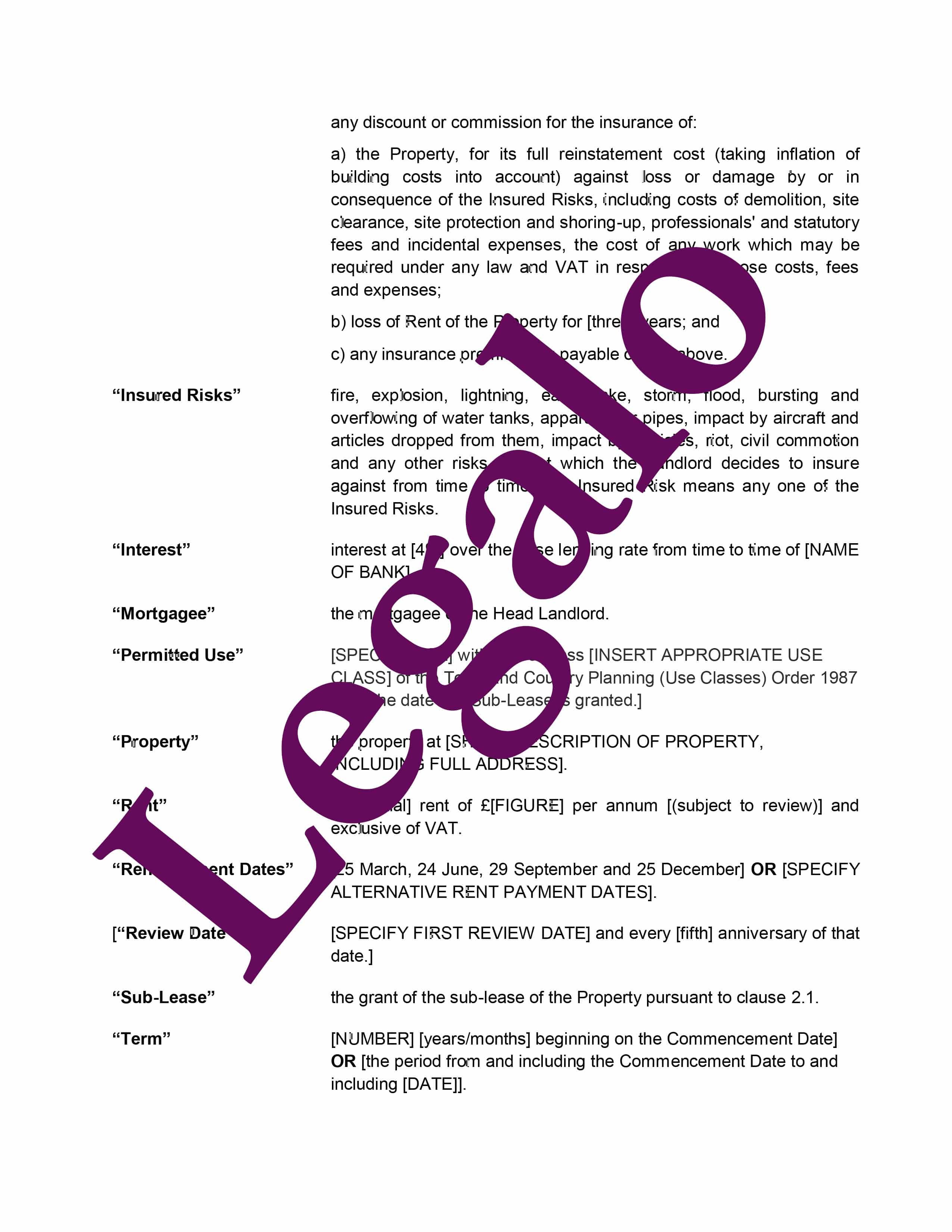 sub-lease agreement preview image page 2