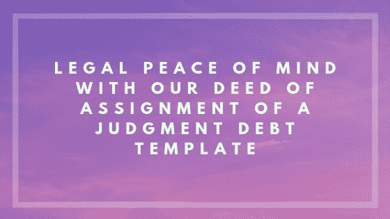 Deed of assignment of a judgment debt image