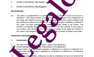 Deed of covenant for a lease template preview image page 1