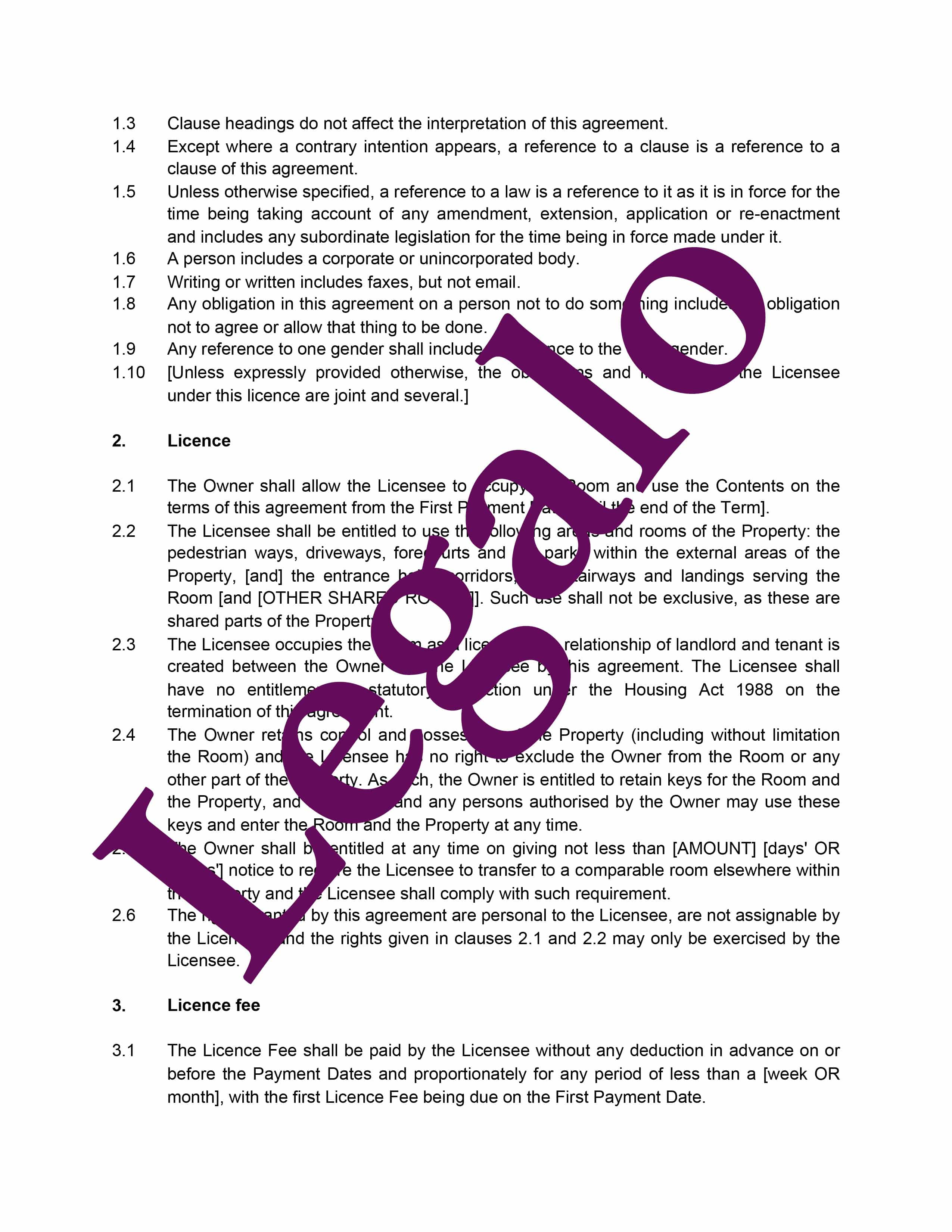 Licence to occupy residential guaranteed template preview image page 2
