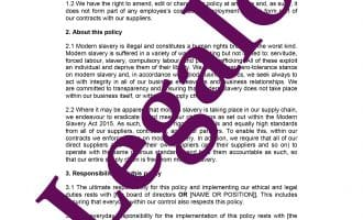 Modern slavery policy template preview image page 1