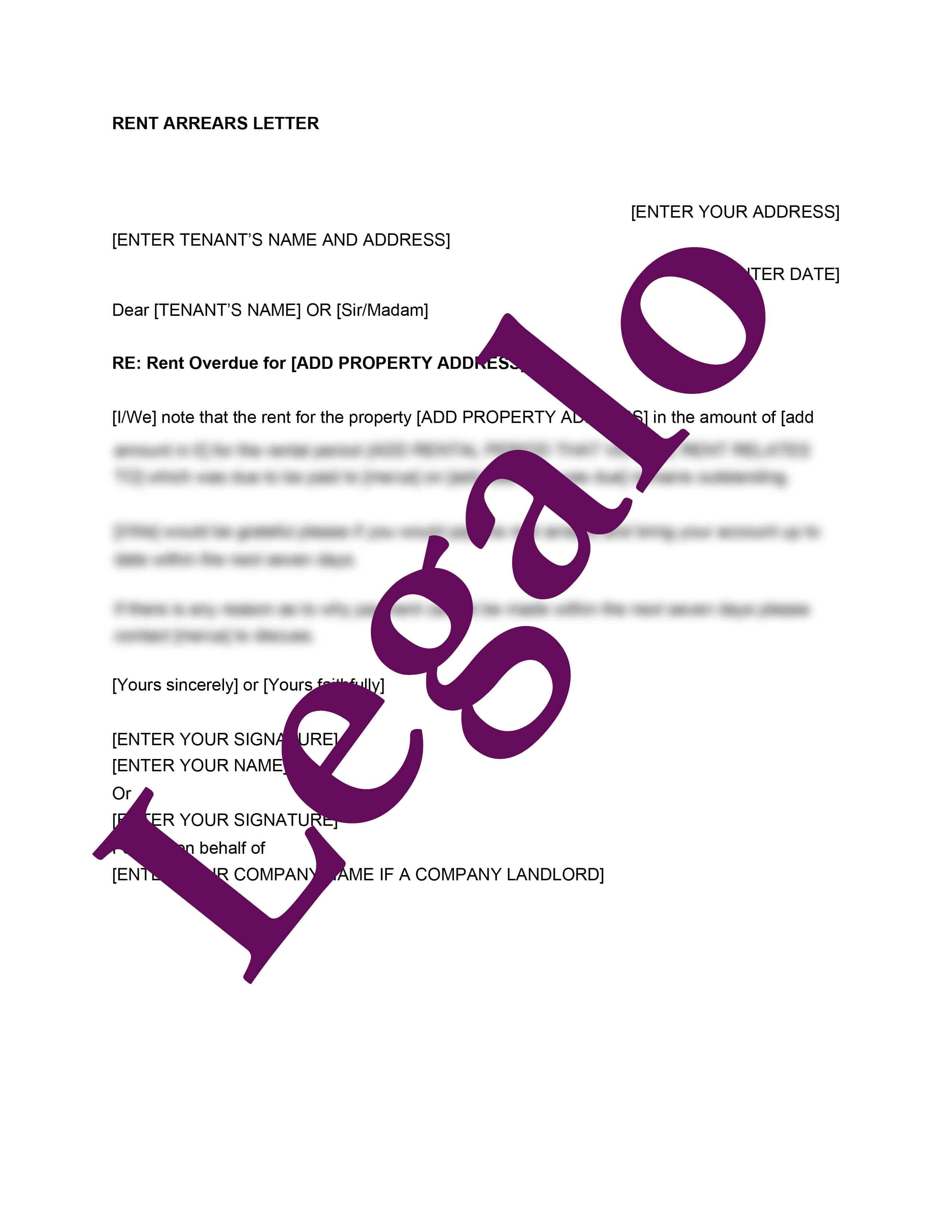 Rent arrears letter template preview image page 1