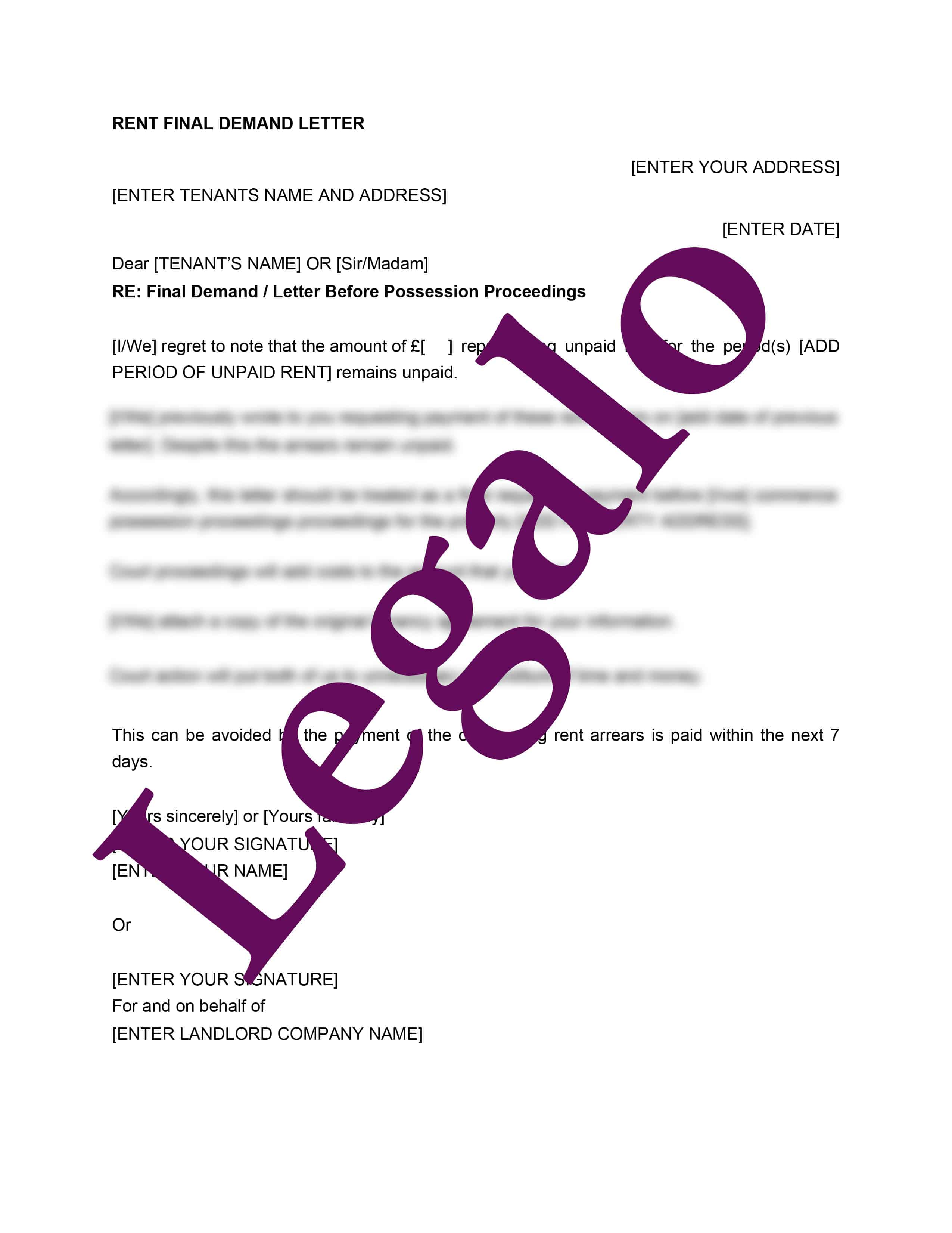 Rent final demand letter template preview image page 1