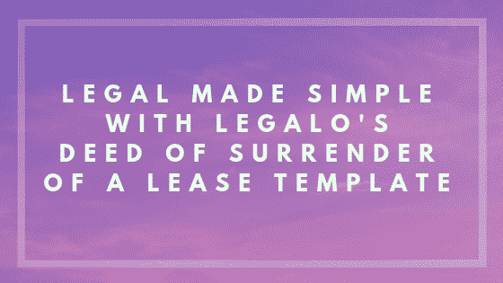 Deed of surrender of a lease image